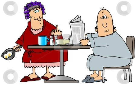 Marriage stock photo, This illustration depicts a housewife flipping the bird at her husband sitting at the kitchen table. by Dennis Cox