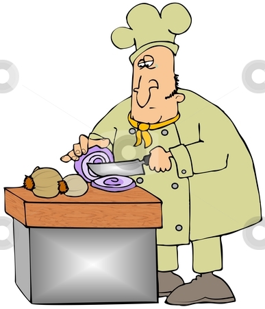 Slicing Onions stock photo, This illustration depicts a chef slicing a purple onion with a single tear on his cheek. by Dennis Cox