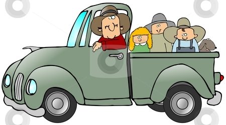 Truck Full Of Kids stock photo, This illustration depicts a man driving a truck with three kids and a dog in the bed. by Dennis Cox