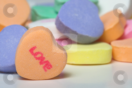 Conversation Hearts - Love stock photo, Conversation hearts Valentines day candy. Concept of love. by Robert Byron