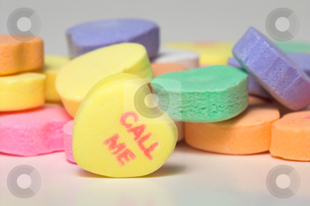 Candy Heart message Call Me stock photo, Call Me message. Conversation hearts Valentines day candy. Concept of love. by Robert Byron