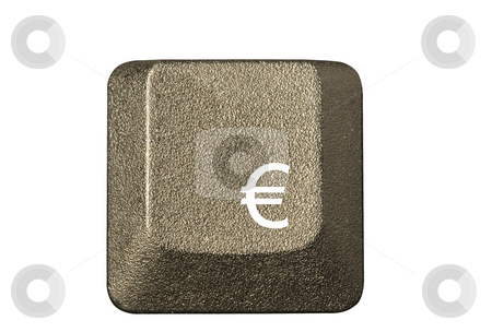 Computer key euro currency stock photo, Computer key in a keyboard with letter, number and symbols by Ivan Montero