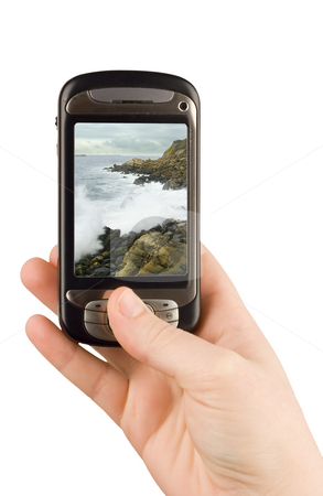 Technology business communication device stock photo, Technology business communication device cellular phone and camera isolated clipping paths by Ivan Montero
