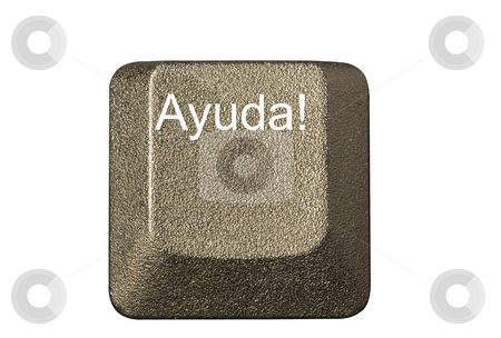 Computer key Ayuda stock photo, Computer key in a keyboard with letter, number and symbols by Ivan Montero