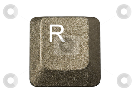Computer key r  stock photo, Computer key in a keyboard with letter, number and symbols by Ivan Montero
