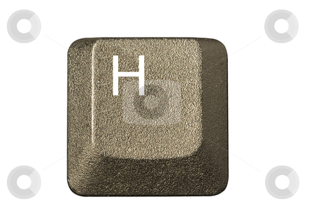 Computer key H stock photo, Computer key in a keyboard with letter, number and symbols by Ivan Montero