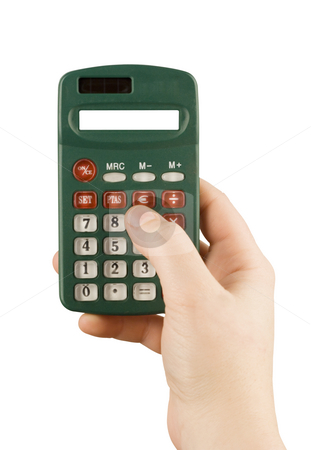 Business financial calculator machine hold in woman hand stock photo, Business financial calculator machine hold in woman hand by Ivan Montero