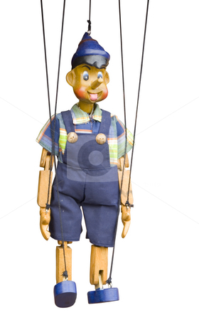 Isolated wooden puppet stock photo, Wooden toy puppet marionette string controled pinocchio by Ivan Montero