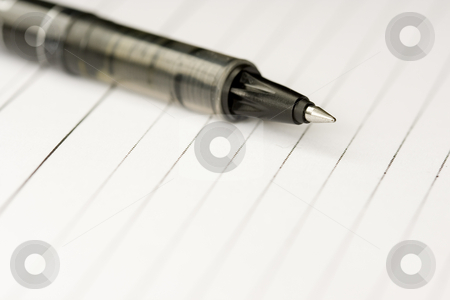 Pen and paper stock photo, A pen on a blank paper ready to write by Ivan Montero