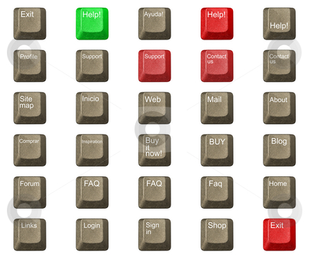Computer key in a keyboard with letter, number and symbols stock photo, Computer key in a keyboard with letter, number and symbols by Ivan Montero