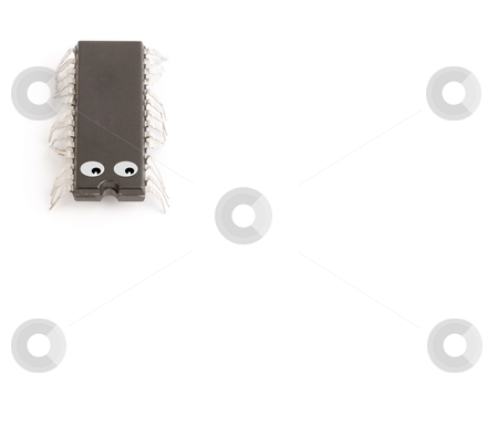 Bussines technology chip stock photo, Technology isolated computer electronic chip on white background with its pins as legs of a live worm by Ivan Montero