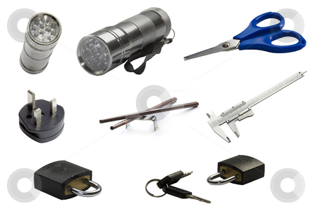Tools stock photo, Hand light torch isolated in its background by Ivan Montero