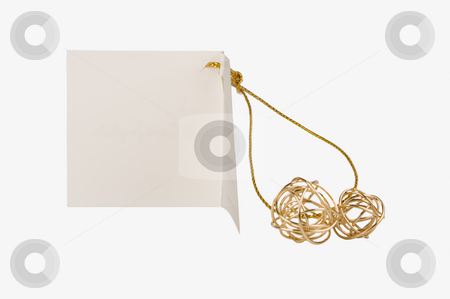 Isolated gift paper label with golden balls for a celebration stock photo, Isolated gift paper label with golden balls for a celebration by Ivan Montero