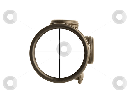 Rifle scope stock photo, Image of a rifle scope sight used for aiming with a weapon by Ivan Montero