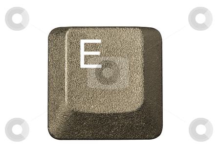 Computer key E stock photo, Computer key in a keyboard with letter, number and symbols by Ivan Montero