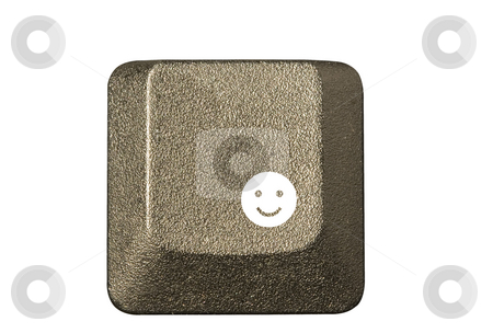 Computer key smiley face stock photo, Computer key in a keyboard with letter, number and symbols by Ivan Montero