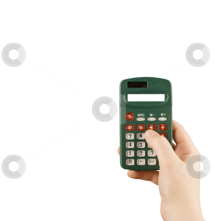 Business financial calculator machine hold in woman hand stock photo, Business financial calculator machine hold in woman hand by Ivan Montero