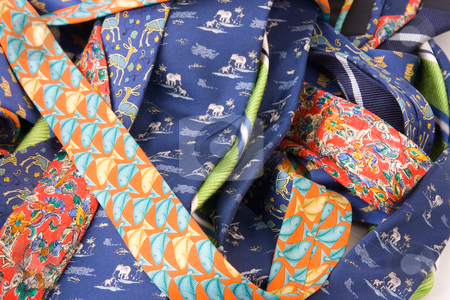 Business men tie work clothes.  stock photo, Business men work clothes. Color fashion neck ties by Ivan Montero