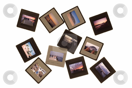 Isolated photo slides stock photo, Landscapes and color photo slides in an isolated background by Ivan Montero