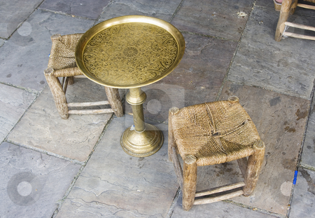 Vintage Table and chairs stock photo, Arab vintage table and chairs made of brass and wood by Ivan Montero