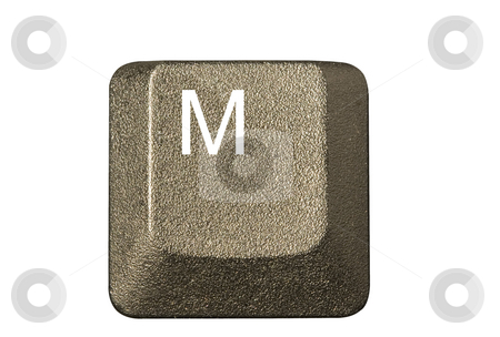Computer key M stock photo, Computer key in a keyboard with letter, number and symbols by Ivan Montero
