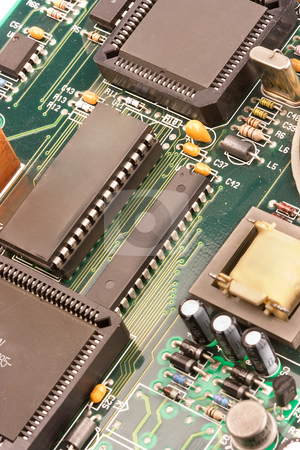 Computer chip stock photo, Image of chips in a circuit of a component of a computer by Ivan Montero