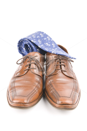 Business men luxury leather shoes stock photo, Business men luxury leather hand made shoes or brogues with shocks and tie by Ivan Montero