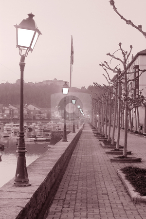 Street stock photo, Image of a long cold street with a line of lamppost by Ivan Montero