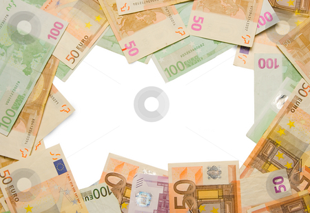 Business financial frame border stock photo, Business financial money frame of euro notes currency frame or border by Ivan Montero