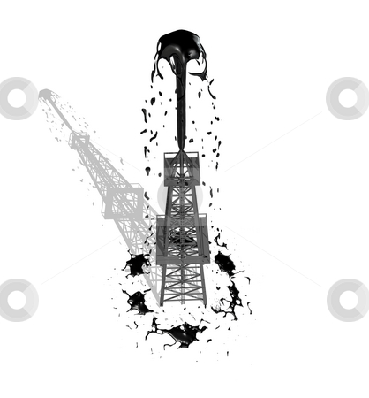 Oil Derrick 1 with shadow stock photo, Oil Derrick 1 with shadow on white background by John Teeter