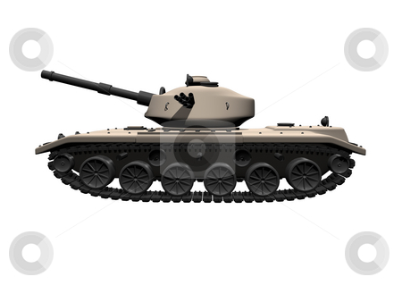 3D tank side view on white background stock photo, 3D tank side view on a white background by John Teeter