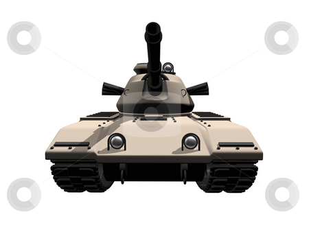 3D tank front view stock photo, 3D tank front view on a white background by John Teeter