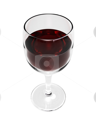 3D wine glass with wine stock photo, 3D Wine Glass with wine on a white background by John Teeter