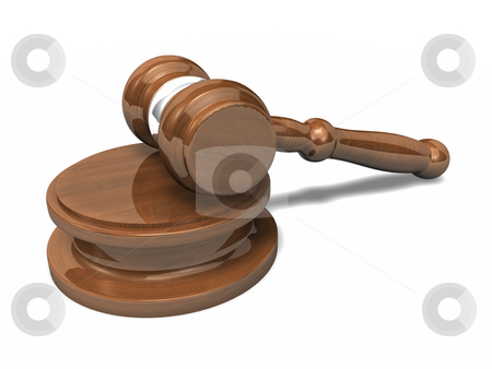 3D Gavel with shadow stock photo, 3D Gavel with shadow on white background by John Teeter