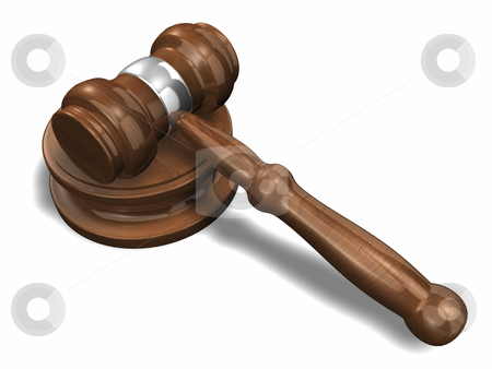 3D Gavel 2 with shadow stock photo, 3D Gavel 2 with shadow on a white background by John Teeter