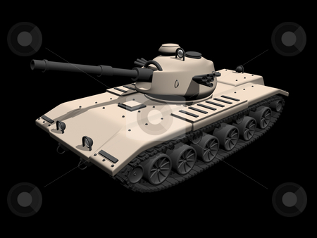3D tan tank on a black background stock photo, 3D tan colored tank on a black background by John Teeter