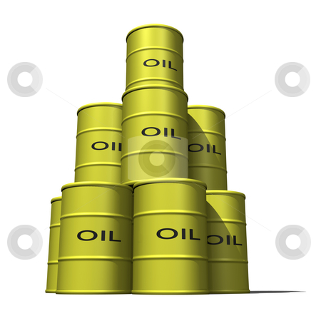 Oil Barrels stacked 2 stock photo, Oil Barrels stacked 2 on a white background by John Teeter