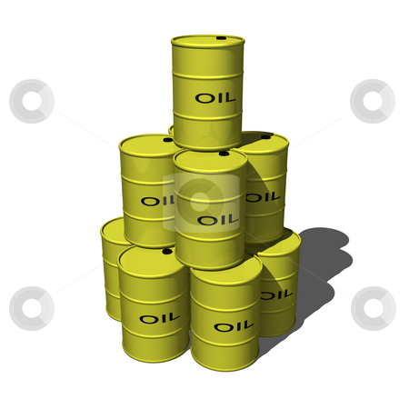 Oil Barrels stacked 1 stock photo, Oil Barrels stacked 1 on a white background 3D by John Teeter