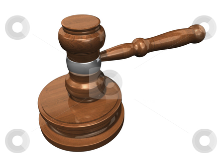 3D Gavel 3 stock photo, 3D Gavel 3 on a white background by John Teeter