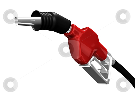 Gas nozzle pointing up stock photo, Gas nozzle pointing up on white background 3D by John Teeter