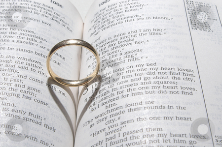 Wedding Ring on a Bible stock photo, A wedding ring on a bible open to marriage scripture. by Robert Byron