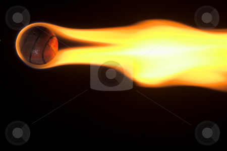 Flaming Basketball stock photo, A flaming basketball rocketing across the night sky. by Robert Byron