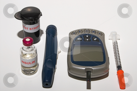Diabetic Kit stock photo, A glucometer, test strips, syringe, insulin and a finger pricking device on a grarduated neutral background by Robert Byron