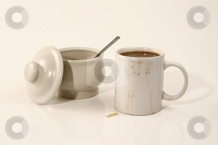 Slob stock photo, Sloppy coffee drinker by Jack Schiffer