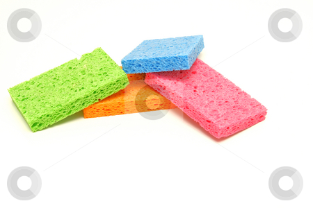 Colored Sponges stock photo, Assortment of colored dish washing sponges by Jack Schiffer