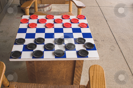 Checkers Game stock photo, A checkers board set up and ready to play. by Robert Byron