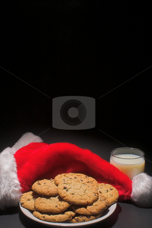 Santa's Milk And Cookies stock photo, A plate of cookies and a glass of milk left out for Santa Claus by Robert Byron