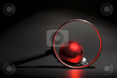 Christmas Ornament Magnified stock photo, A very colorful Christmas ornamental glass ball. by Robert Byron