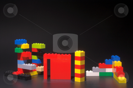 Plastic Building Blocks stock photo, A set of children's plastic building blocks. by Robert Byron