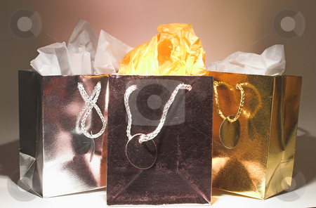 Holiday Shopping Bags stock photo, An assortment of colorful holiday shopping bags. by Robert Byron